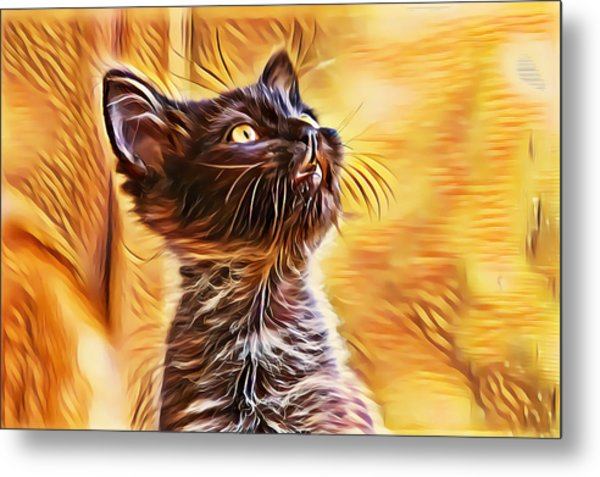 Special Long Neck Kitty Metal Print