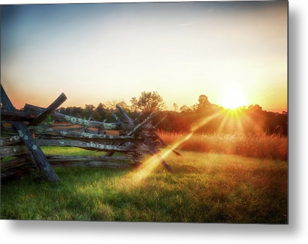 Split-rail Sunset Metal Print