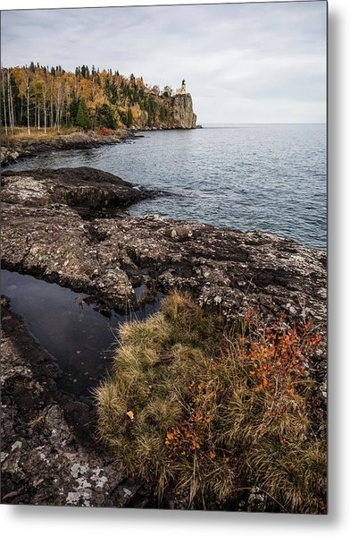 Split Rock Lighthouse Rocky Shore Metal Print