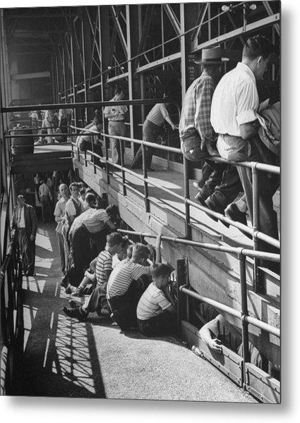 Sports Fans Attending Baseball Game At E Metal Print