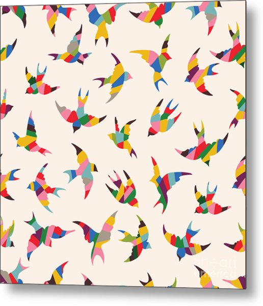 Spring Birds Seamless Pattern. Colorful Metal Print
