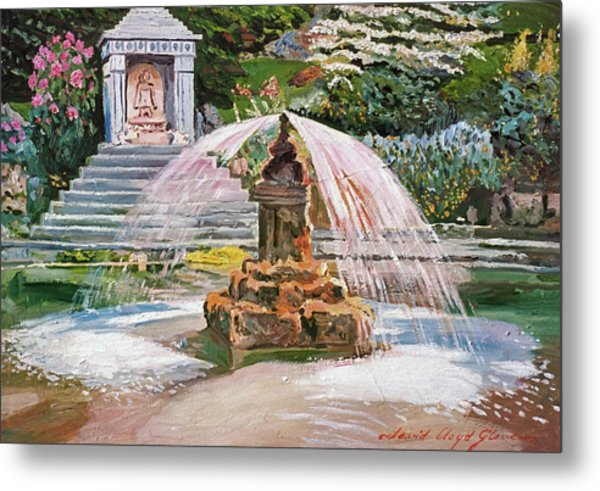 Spring Fountain And Pond Metal Print