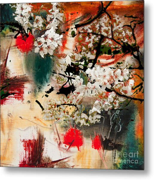 Spring Motif, Abstract Background Oil Metal Print