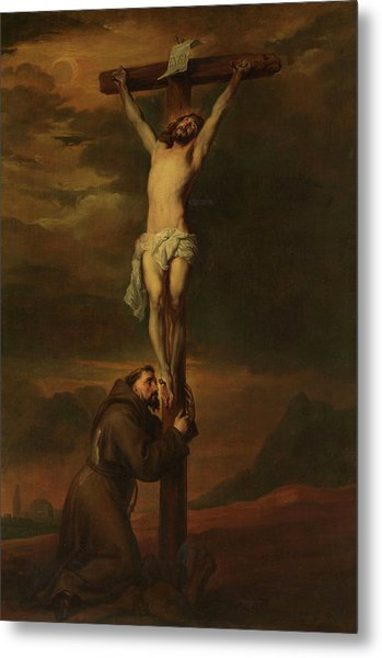 St Francis At The Foot Of The Cross, 1691 Metal Print
