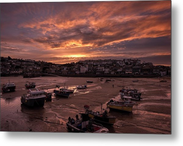 St Ives Cornwall - Harbour Sunset Metal Print