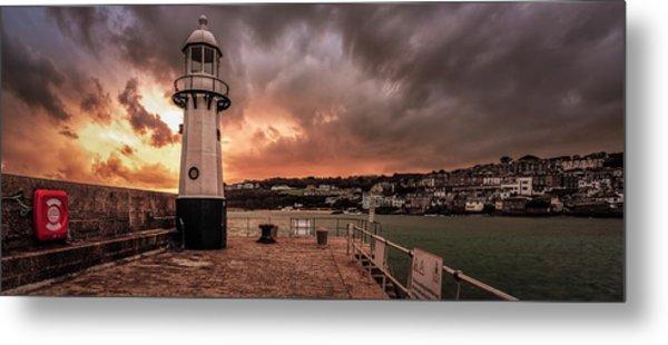 St Ives Cornwall - Lighthouse Sunset Metal Print