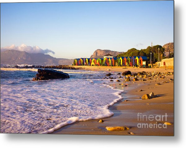 St James Beach With Its Colorful Metal Print