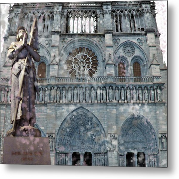 St Joan Of Arc Watch Over Notre Dame Metal Print