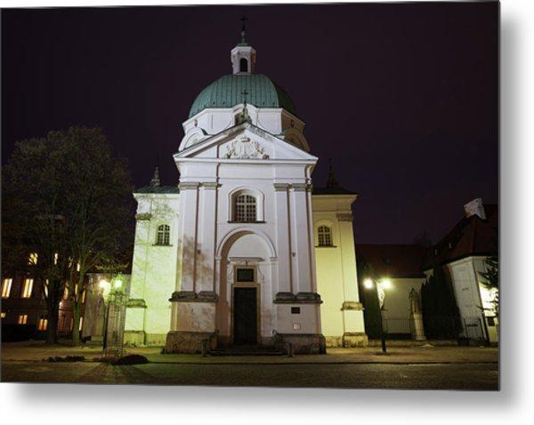 St Kazimierz Church At Night In Warsaw Metal Print