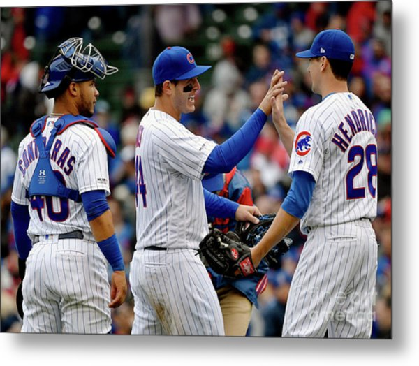 St Louis Cardinals  V Chicago Cubs Metal Print