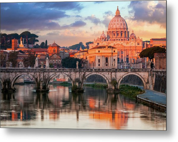 St Peters Basilica, St Angelo Bridge Metal Print by Joe Daniel Price