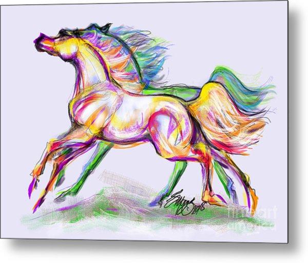 Crayon Bright Horses Metal Print