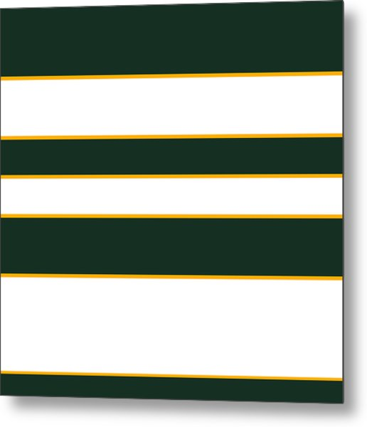 Stacked - Green, White And Yellow Metal Print