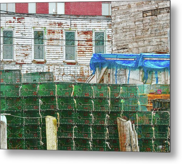 Stacked Lobster Traps Metal Print