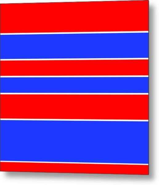 Stacked - Red, White And Blue Metal Print