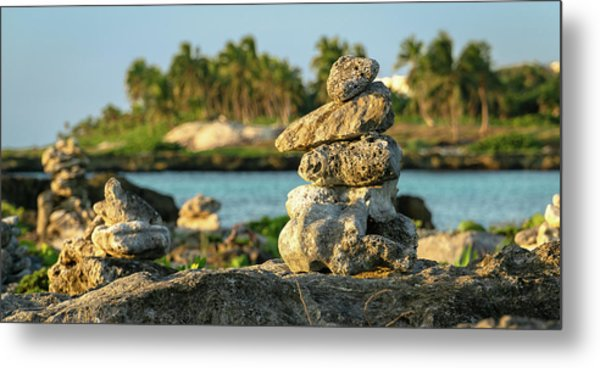 Stacked Rocks On Mexico Beach Metal Print