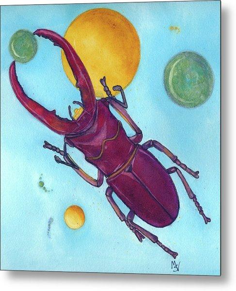 Stag Beetle In Space Metal Print