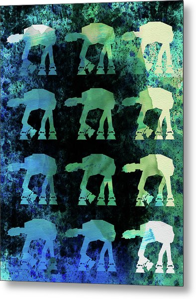 Star Ground Warrior Collage Watercolor 2 Metal Print