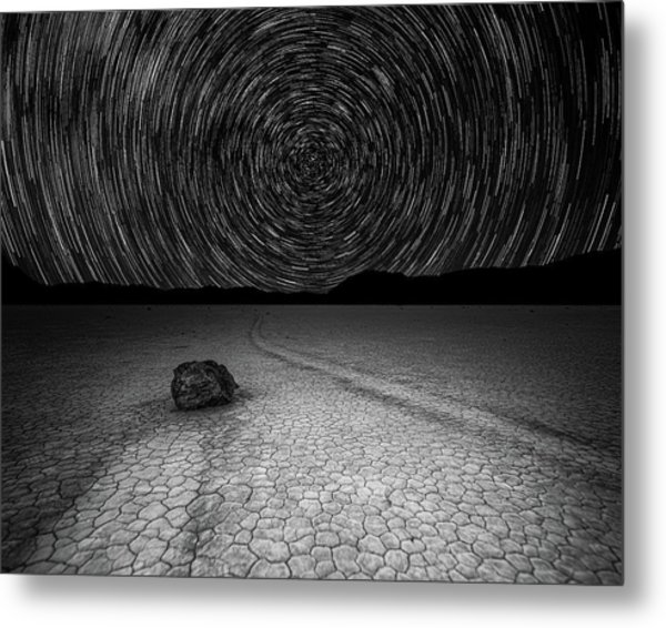 Metal Print featuring the photograph Star Trails Over Racetrack Playa Black And White by William Dickman