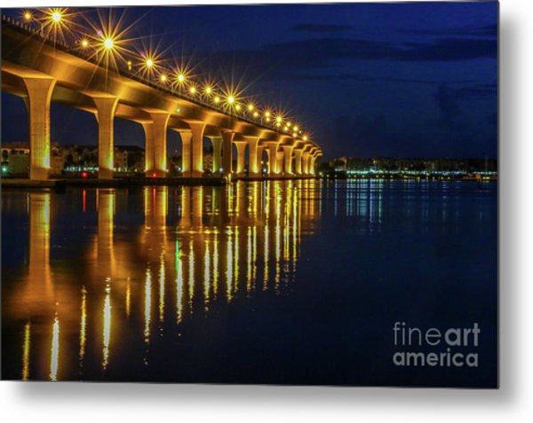 Metal Print featuring the photograph Starburst Bridge Reflection by Tom Claud