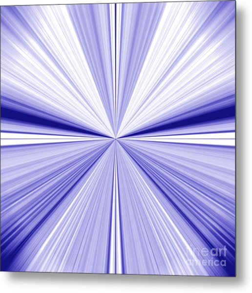 Starburst Light Beams In Blue And White Abstract Design - Plb455 Metal Print