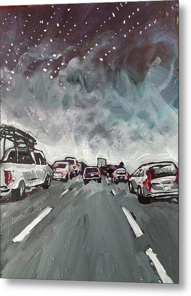 Starry Night Traffic Metal Print
