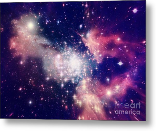 Stars Of A Planet And Galaxy In A Free Metal Print