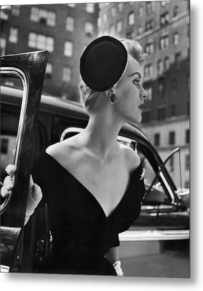 Stay Put Hat, Jeweled Version Head Hold Metal Print by Nina Leen