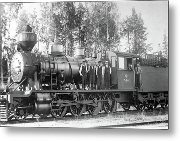 Steam Engine Locomotive 594 Finland Metal Print