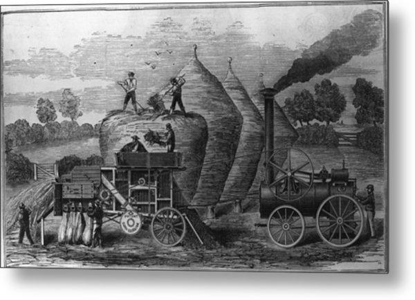 Steam Threshing Metal Print by Hulton Archive
