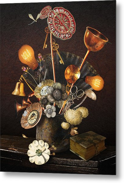 Steampunk Bouquet Metal Print