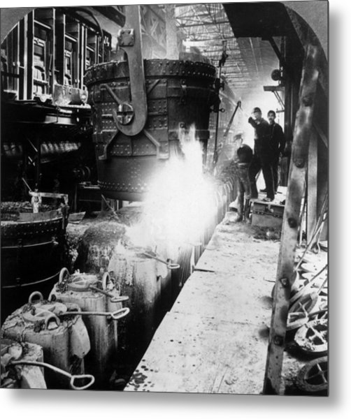 Steel Foundry Metal Print by Hulton Archive