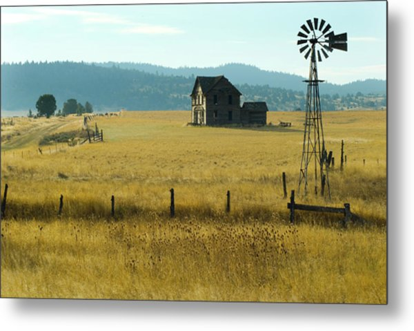 Steinbeck Homestead W Windmill And Fence Metal Print