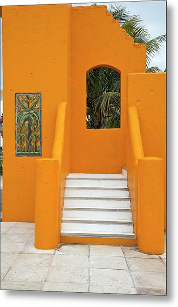 Steps, Patterns, Colors Of The Metal Print by Barry Winiker