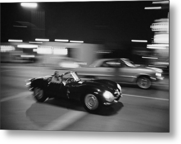 Steve Mcqueen Driving Sunset Strip Metal Print