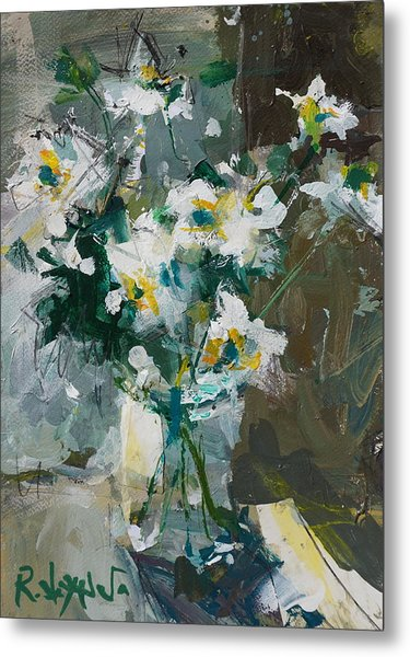 Still Life With White Anemones Metal Print