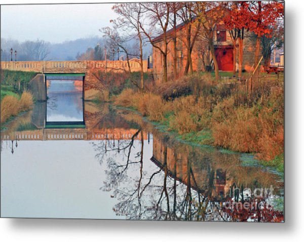 Still Waters On The Canal Metal Print