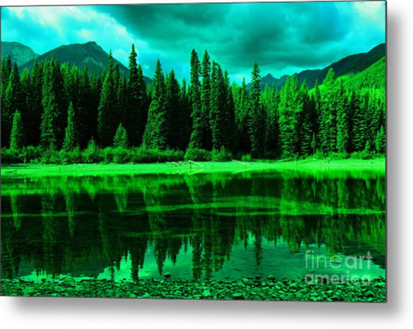 Stillwater Reflecting Trees And Mountains Metal Print