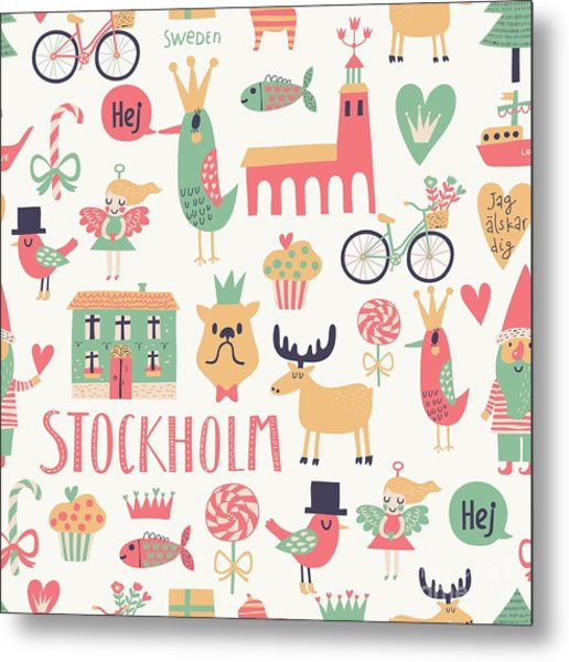 Stockholm Concept Seamless Pattern In Metal Print