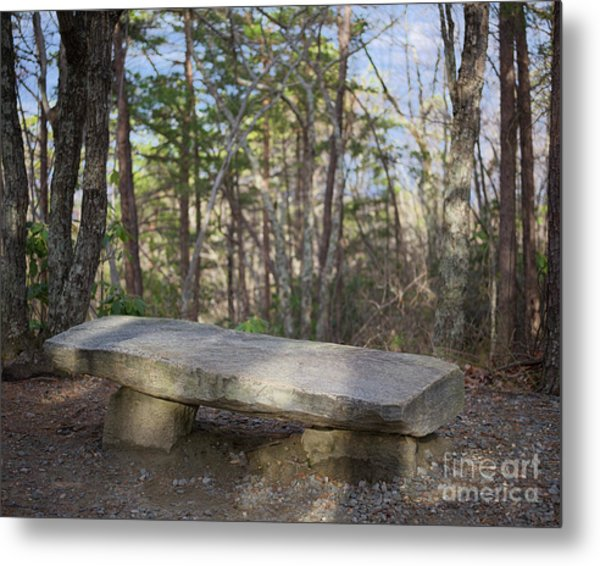 Metal Print featuring the photograph Stone Bench by Patrick M Lynch