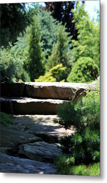 Stone Stairs In Chicago Botanical Gardens Metal Print