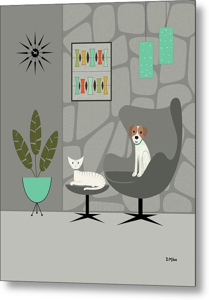 Stone Wall With Dog And Cat Metal Print