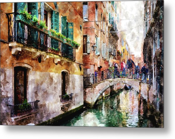 People On Bridge Over Canal In Venice, Italy - Watercolor Painting Effect Metal Print