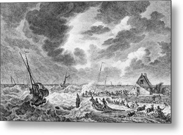 Storm At Sea Metal Print by Hulton Archive