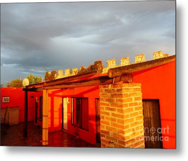 Metal Print featuring the photograph Storm Brewing, Sun Setting by Rosanne Licciardi