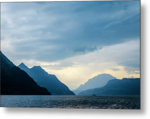Storm Clouds On Lake Lucerne Metal Print