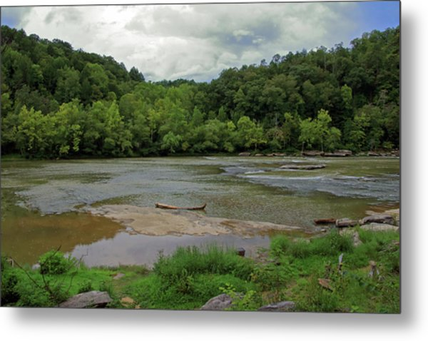 Metal Print featuring the photograph Stormy Evening At The River by Angela Murdock