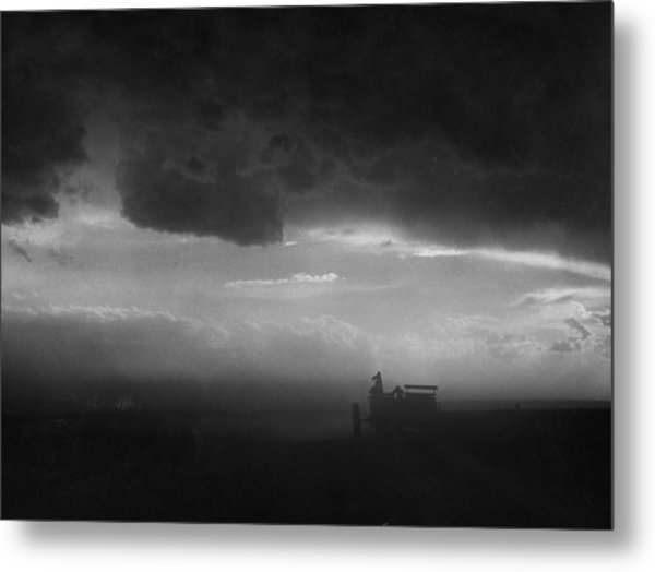 Stormy Sunset Over Texas Ranch Land.  P Metal Print