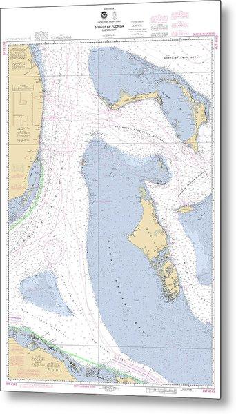 Straits Of Florida, Eastern Part Noaa Nautical Chart Metal Print