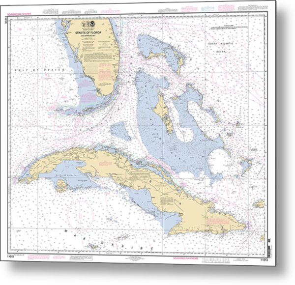 Straits Of Florida Nautical Chart Metal Print